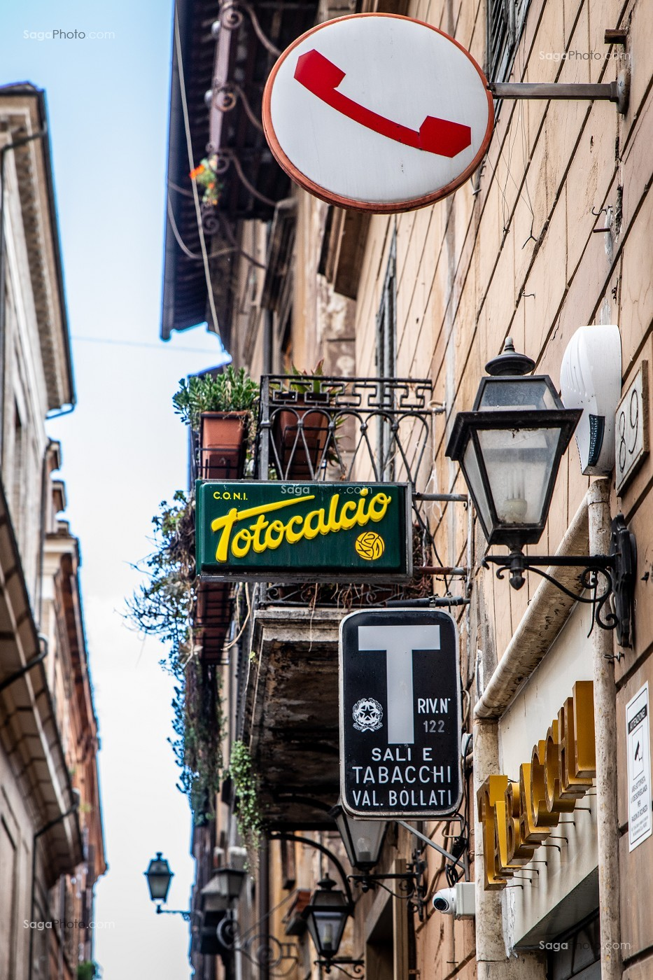 ENSEIGNE LOTERIE, TABAC, TELEPHONE, ROME, ITALIE, EUROPE