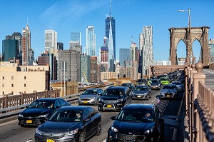 EMBOUTEILLAGE, TRAFIC SUR LE PONT DE BROOKLYN, MANHATTAN, NEW-YORK, ETATS-UNIS, USA