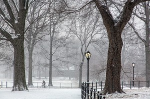 BALADE A VELO, CENTRAL PARK UN JOUR DE NEIGE, MANHATTAN, NEW-YORK, ETATS-UNIS, USA