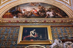REPRODUCTION DE SAINT JEROME ECRIVANT, LE CARAVAGE CO CATHEDRALE SAINT JEAN, LA VALETTE, MALTE